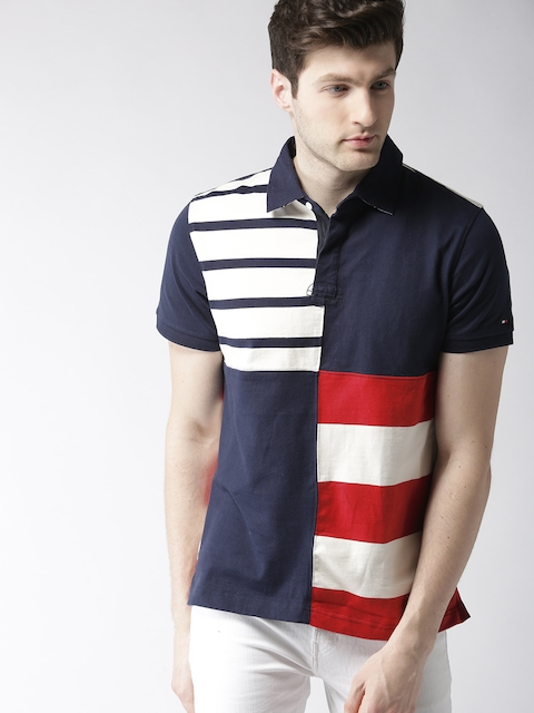 Tommy Hilfiger Men Navy Blue & White Striped Polo Collar T-shirt