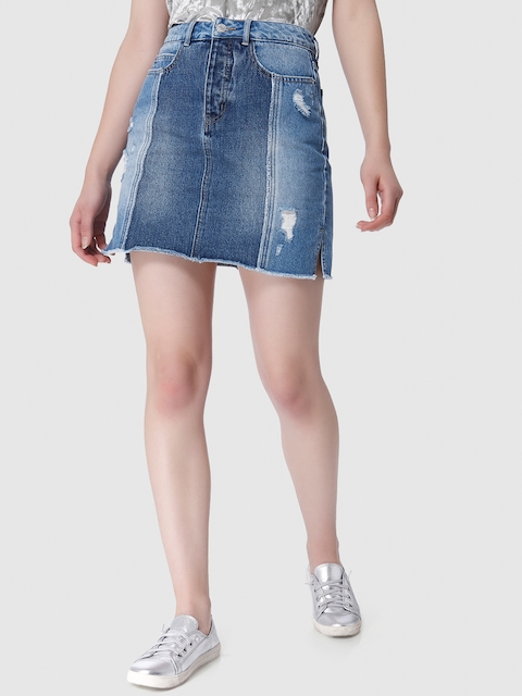 Vero Moda Women Blue Washed Distressed Denim A-Line Skirt