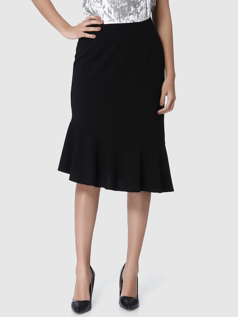 Vero Moda Women Black Solid A-Line Skirt