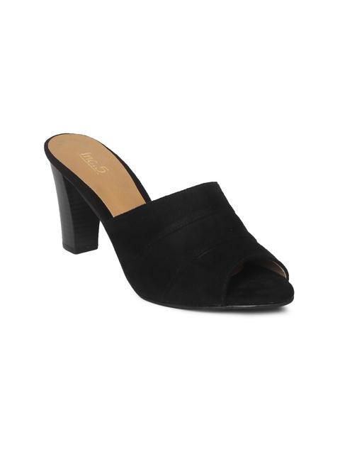 56a61b71f88 Inc 5 Women Black Solid Peep Toe Heels