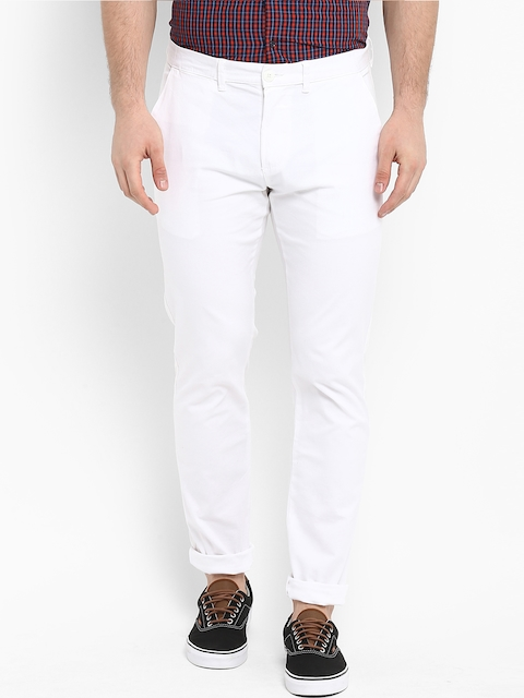 Red Tape Men White Slim Fit Solid Chinos