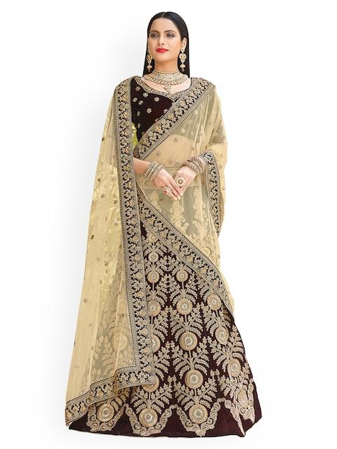 e44ef399eaa Chhabra 555 Brown   Beige Embellished Semi-Stitched Lehenga   Unstitched  Blouse with Dupatta