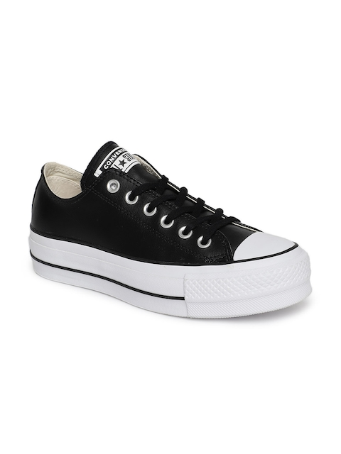Converse Unisex Black 561681C Leather Sneakers
