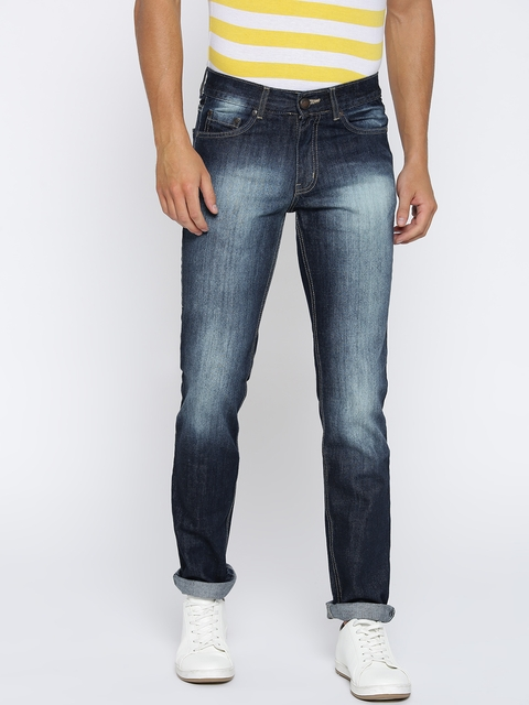 American Crew Men Navy Blue Straight Fit Mid-Rise Clean Look Jeans