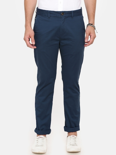 Breakbounce Men Blue Slim Fit Solid Chinos