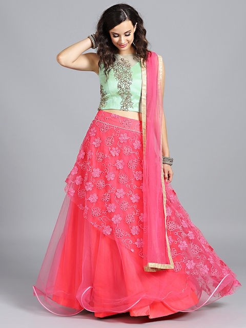 81ffe37137a Chhabra 555 Green   Pink Made to Measure Embellished Lehenga   Blouse with  Dupatta
