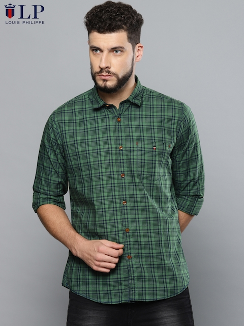 72390c72adc Louis Philippe Sport Men Green   Navy Blue Slim Fit Checked Casual Shirt