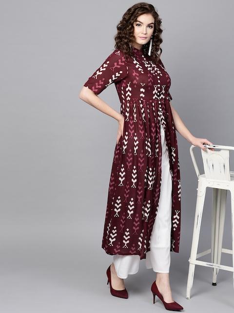 SASSAFRAS Women Burgundy Ikat Print A-Line Kurta
