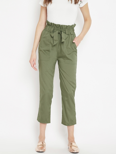 PANIT Women Olive Green Regular Fit Solid Cropped Peg Trousers