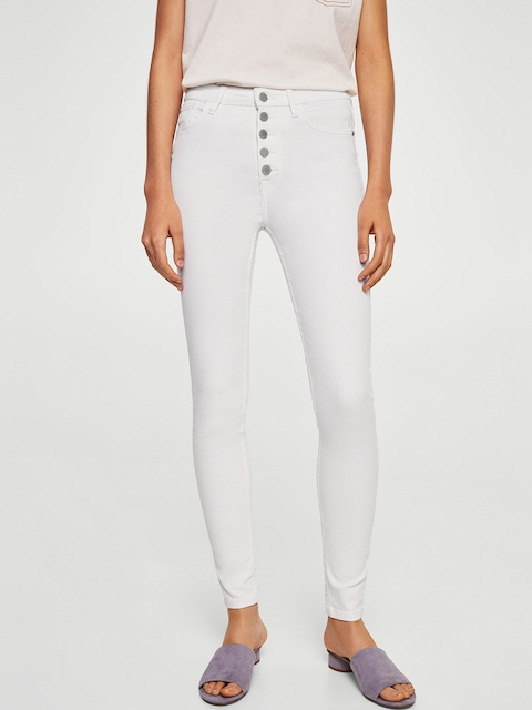 MANGO Women White Soho Skinny Fit High-Rise Clean Look Stretchable Jeans