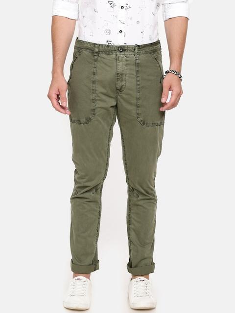Breakbounce Men Green Solid Regular Fit Chinos