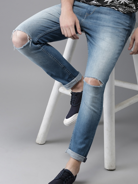 HERE&NOW Men Blue Tapered Fit Mid-Rise Slash Knee Stretchable Cropped Jeans