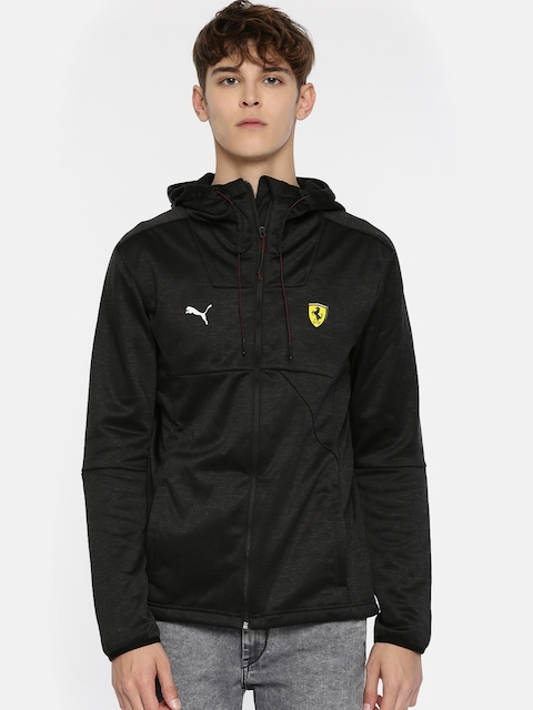 Puma Men Black Solid SF Street Softshell Hooded Sporty Jacket