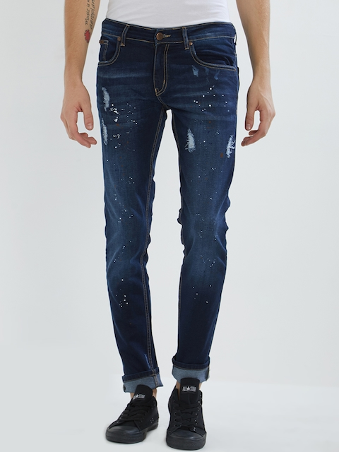 BOLTS and BARRELS Men Blue Slim Fit Low-Rise Mildly Distressed Jeans