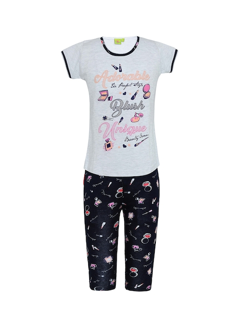 924e15b681 Punkster Girls Off-White   Navy Blue Printed Night suit Image