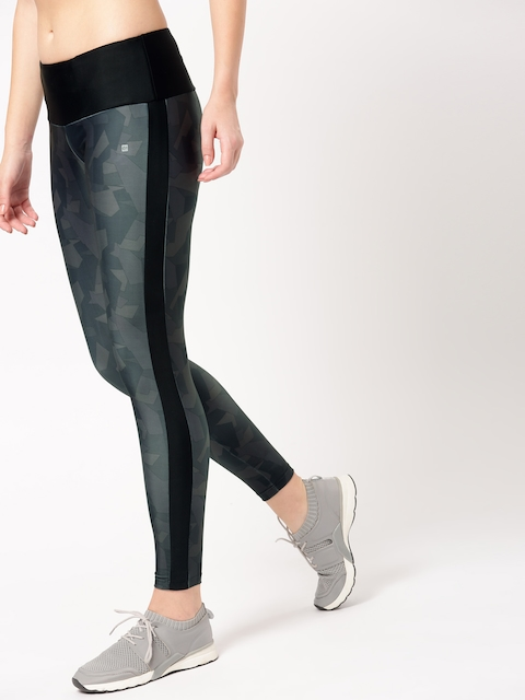 ether e+ Women Grey and Olive Green Printed Tights