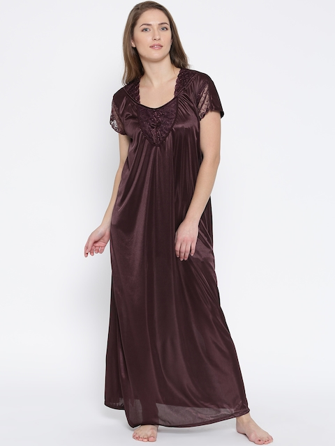 Satin Long Nightwear with Lace Free Size Comfortable and Soft Fabric Fits  Best Upto 36