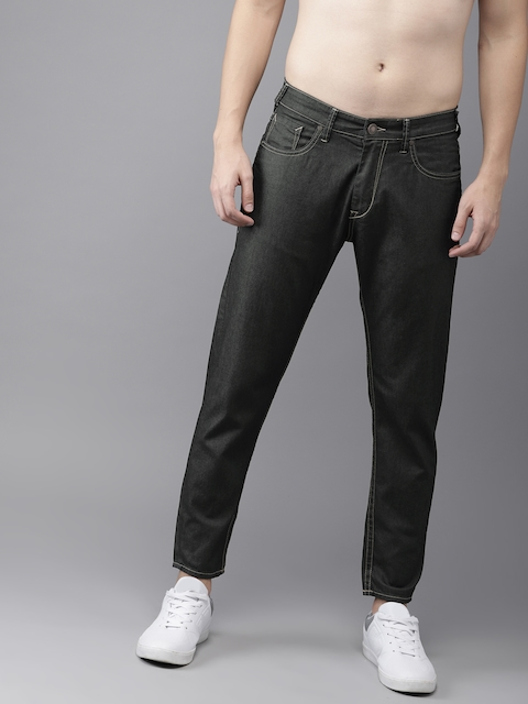 HERE&NOW Men Blue Slim Fit Mid-Rise Clean Look Cropped Jeans