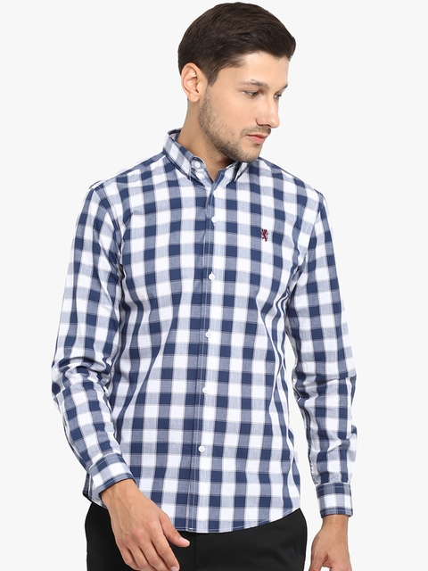 Red Tape Men Blue & White Checked Casual Shirt