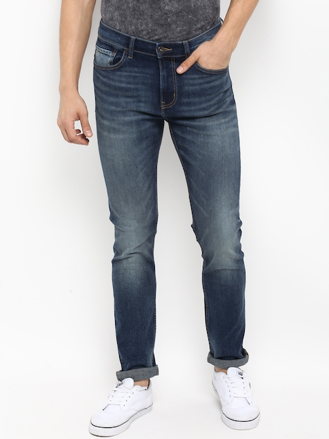 Red Tape Men Blue Skinny Fit Mid-Rise Clean Look Stretchable Jeans