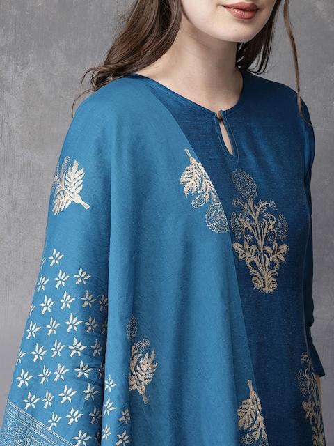 Anouk Women Blue Printed Kurta with Trousers & Dupatta 2