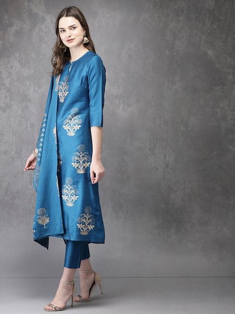 Anouk Women Blue Printed Kurta with Trousers & Dupatta 5