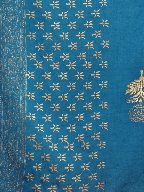 Anouk Women Blue Printed Kurta with Trousers & Dupatta 4