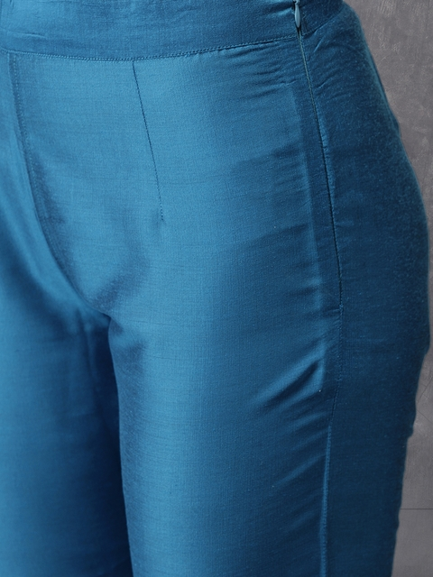 Anouk Women Blue Printed Kurta with Trousers & Dupatta 3