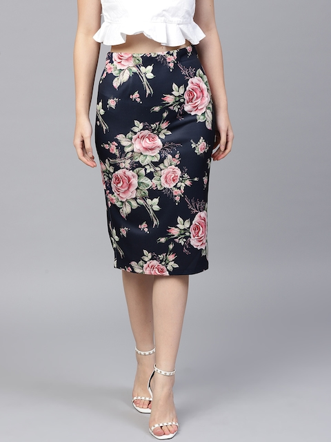 SASSAFRAS Women Navy Blue & Pink Printed Pencil Skirt