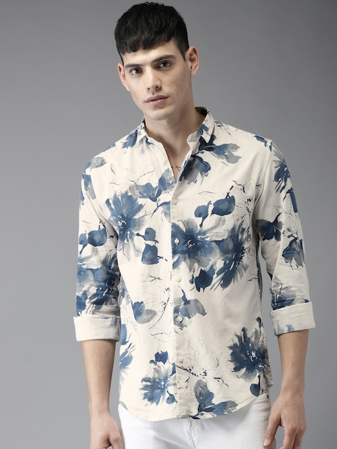 Bene Kleed Men Off-White & Blue Slim Fit Printed Casual Shirt