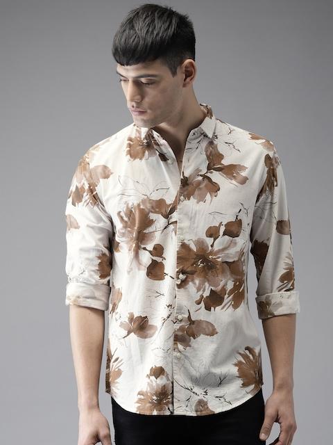 Bene Kleed Men Cream-Coloured & Brown Slim Fit Printed Casual Shirt