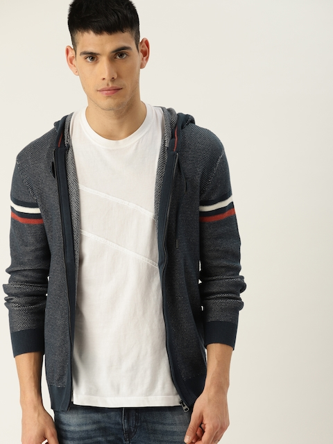 ESPRIT Men Navy Self-Design Cardigan