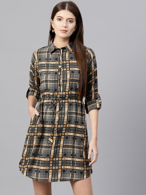 GERUA Women Grey & Beige Checked Shirt Dress