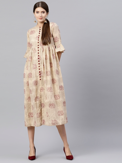 GERUA Women Beige Printed Midi Empire Dress