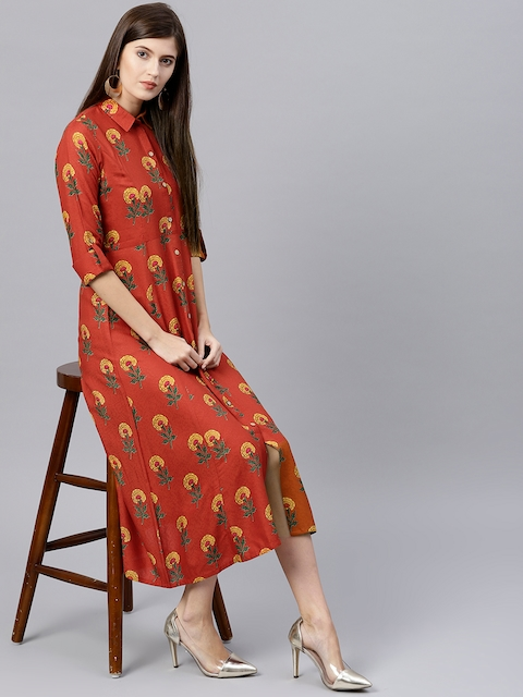 GERUA Women Rust Orange Printed A-Line Dress