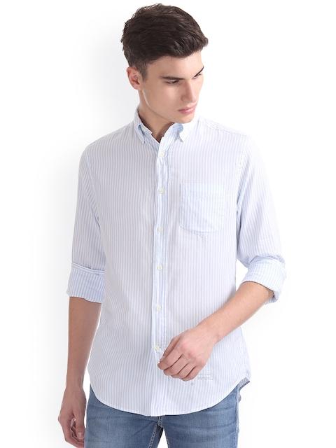 GANT Men Blue & Blue Regular Fit Striped Casual Shirt