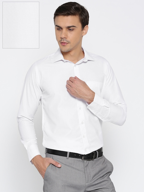 Shaftesbury London Men White Smart Slim Fit Solid Formal Shirt