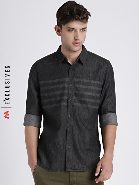 GAP Men's Black Denim Western Shirt in Laser Wash