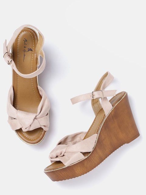 Mast & Harbour Women Peach-Coloured Solid Wedges