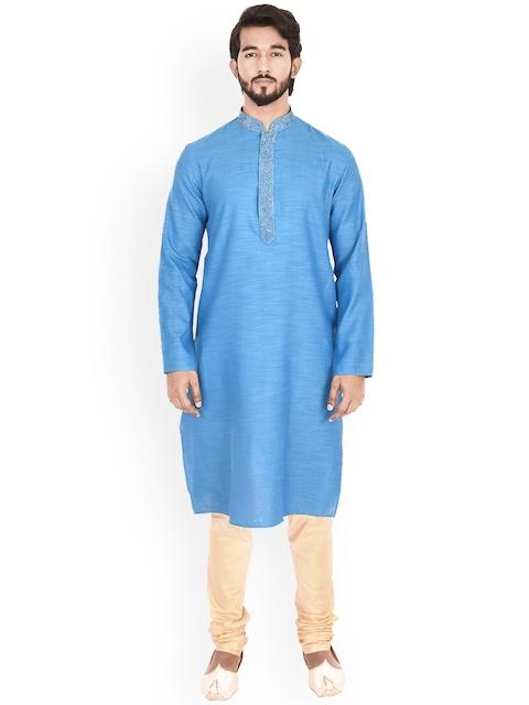 Manyavar Men Blue & Beige Self Design Kurta with Churidar