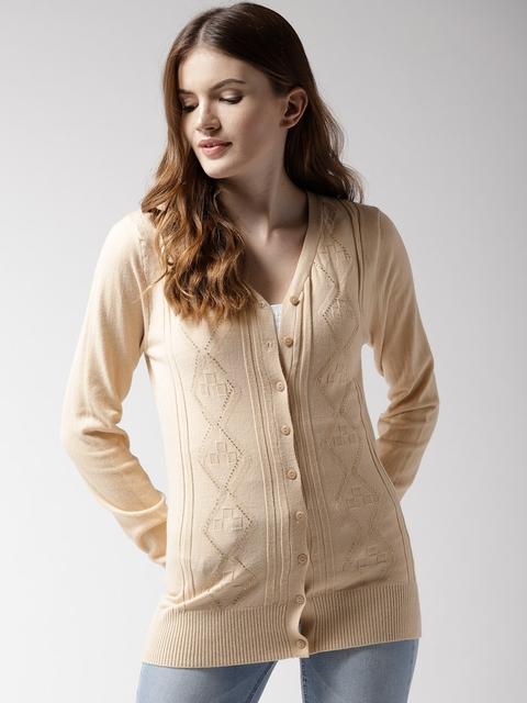 Fort Collins Women Beige Self-Design Embellished Detail Cardigan