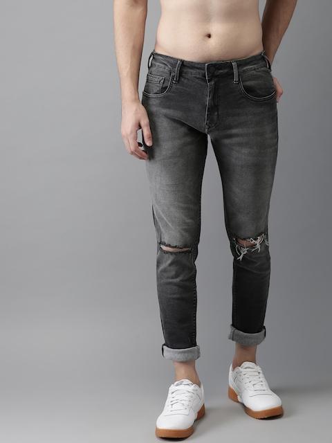 HERE&NOW Men Black Skinny Fit Mid-Rise Slash Knee Stretchable Jeans