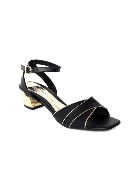 Inc 5 Women Black Solid Sandals