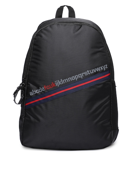 French Connection Unisex Black Solid Backpack