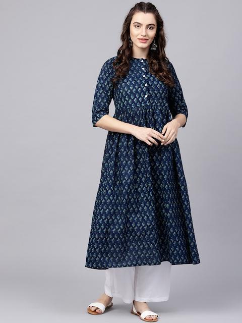 Nayo Navy Blue Floral Cotton A-Line Kurta With Gathered Waist & Palazzos 4