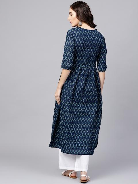 Nayo Navy Blue Floral Cotton A-Line Kurta With Gathered Waist & Palazzos 6