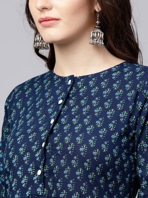 Nayo Navy Blue Floral Cotton A-Line Kurta With Gathered Waist & Palazzos 2