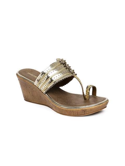Melange by Lifestyle Women Gold-Toned Solid Wedges