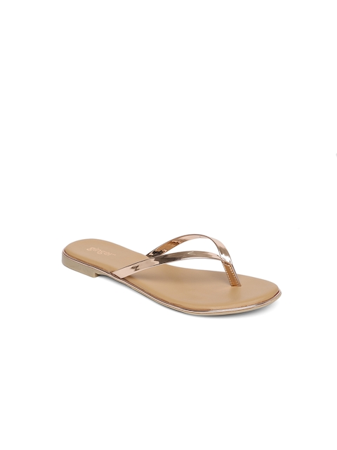 3a9b20f3b636 Ginger by Lifestyle Women Rose Gold Solid Synthetic Open Toe Flats