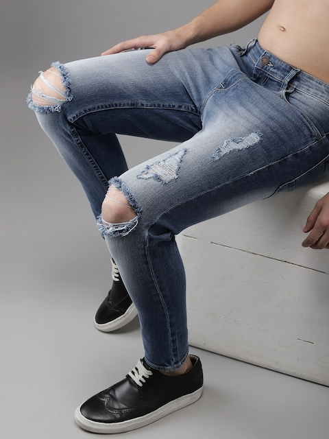 HERE&NOW Men Blue Slim Fit Mid-Rise Mildly Distressed Stretchable Cropped Jeans